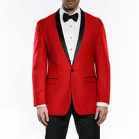 ingrosso vestiti sottili adatti gli abiti 46-Smoking Dello sposo dello sposo rosso su misura 2 pezzi Retro Vent Slim Fit Best Man Suit Abiti da uomo da sposa Bridegroom Wear (Jacket + Pants)