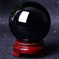 süs takımı toptan satış-Modern Doğal Siyah Obsidian Küre Kristal Topu Şifa Taş Standı Ile Ev Ofis Masa Süsler Sıcak Satış 15ns2 gg