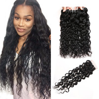 Wholesale Cheap Wavy Human Hair Extensions - Cheap 8A Brazilian Water Wave Hair With Closure 3 Bundles With Closure Peruvian Natural Wave Hair With Closure Wavy Human Hair Extensions