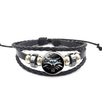 Wholesale witcher medallion for sale - Group buy New Witcher Medallion Wizard Wolf Wild Hunt Glass Buckle Charm Bracelet Handmade DIY Multilayer Black Leather Bracelet Men Women