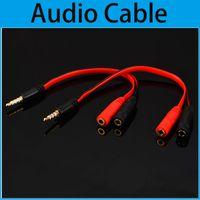 Wholesale headphones cord mic online – Female Splitter Mic Earphone to Cable mm Earphone Y Splitter Adapter Audio Cable cords For MP3 earphone For iPhone headphone cm