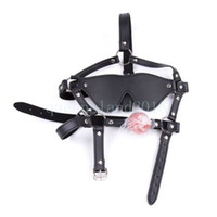 Wholesale adult face mask eyes for sale - Group buy BLINDFOLD FACE MASK BALL GAG Harness head chin strap mouth eye cover black adult R87