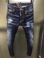 ayaklı modeller toptan satış-Patlama modelleri d2019 moda yeni erkek kot deliksiz, ince ayak, klasik baskı, mikro-elastik erkek vahşi moda trendi