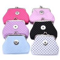 Wholesale Coin Snap Wallet Women - Noosa Chunks 18MM Snap Buttons Coin Purses Dot Spot Small Wallets Pouch Kids Girl Women's Money Holders Bags For Gift