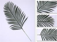 folhas verdes de plástico venda por atacado-Hot Home Festivo Bonito Grande Verde Folhas De Palmeira De Plástico Falso Planta Artificial Folha de Decoração Para Casa Escritório diy Pendurado Folhas Artificiais