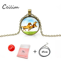 Wholesale cheap bronze necklace for sale - Fashion Retro Jewelry Bronze Men Horse Necklace Multi Colored Cabochon Glass Animal Pendant Cheap Leather Rope Double Chain Necklace Gifts