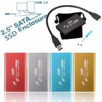 ssd sata 1,8 toptan satış-Yeni 1.8 inç mSATA USB 3.0 SATA HDD Muhafaza Dönüştürücü Adaptör SSD Durumda Kutusu