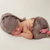 Wholesale Hand Woven Belts - 2018 New products boy photo shoot clothes mohair brown hat and pants Newborn photography props hand-woven baby gifts