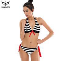 Wholesale Brazillian Swimwear - 2018 Sexy Bikinis Women Swimsuit Swimwear Halter Top Plaid Brazillian Bikini Set Bathing Suit Summer Beach Wear Biquini