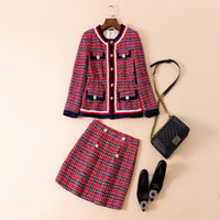 womens long dress coats 2018 - New Arrival 2018 Autumn Brand Same Style Two Piece Dress Coat Red Plaid Above Knee Empire Fashion Prom Womens Clothes SH