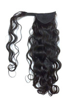 Wholesale brazilian curly real hair extensions resale online - 120g curly Pony tail hairpiece wrap around ponytail extension Brazilian remy HumanHair ponytail Clip in natural Body wave Real hair ponytail