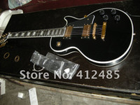 Wholesale custom guitar cases - free shipping 2014 New arrival lp custom black Electric Guitar WITH CASE