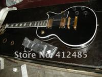 caixa de guitarra elétrica preta venda por atacado-Frete grátis 2014 New arrival lp personalizado preto Guitarra Elétrica COM O CASO