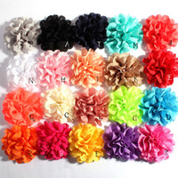 Wholesale fabric chic - 120pcs Lot 10cm 20colors Fashion Hollow Out Blossom Eyelet Hair Flowers Soft Chic Artificial Fabric Flowers For Kids Headbands Headwear