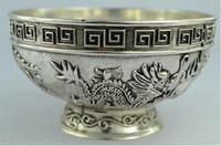 chinesische metallschalen großhandel-Chinesische seltene Sammlerstücke Alte Handarbeit Tibet - Silberne Schüssel Metall Handwerk