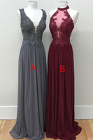 Wholesale Nude Sexy Women Photo - Deep V neck Long Evening Prom Dresses For Women Girls Cheap Gray Wine Red 2018 Chiffon Lace Chiffon A B Style Formal Dresses