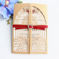 wholesale chinese new year card print online gold laser cut wed invitation card with shimmer