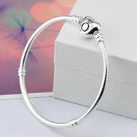 cordão de pulseira de plástico venda por atacado-2018 marca original 925 coração de prata fecho beads 3mm cobra cadeia pulseiras fit europeu pandora encantos coração pulseira diy moda jóias
