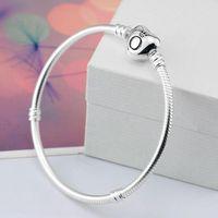 silber 925 schlangenarmband 3mm großhandel-2018 marke Original 925 Silber herz verschluss Perlen 3mm Schlangenkette Armbänder Fit Europäischen Pandora herz Charms Armband DIY Modeschmuck