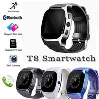 akıllı izleme senkronizasyon çağrıları toptan satış-T8 bluetooth smart watch destek sim ve tfcard kamera sync çağrı mesaj android iphone için erkekler kadınlar smartwatch