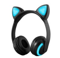kulaklık kedisi toptan satış-Yeni Kablosuz Kedi Kulak bluetooth kulaklıklar kulaklıklar En Kaliteli kulaklık DHL Ücretsiz