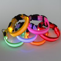 Wholesale dog cat collar dhl resale online - 2 cm Nylon LED Safety Flashing Flash Luminous New Adjustable Dog Puppy Pet Cat Collar Necklace Collars DHL FEDEX EMS