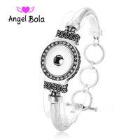 Wholesale personalized button bracelets resale online - Noosa style Ancient silver stereo Crystal diamond Noosa button single buckle bracelet DIY personalized buttons bracelet