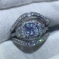 zirkon kristal yüzükler toptan satış-Lüks kadın zirkon yüzük ile tam elmas Alaşım gümüş kaplama yüzük düğün takı takı boyutu 6 7 8 9 10
