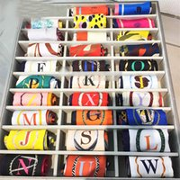 Wholesale Lucky Ring Red - Fashion 26 Letters Print Scarves Head Scarf Brand Small Tie Bag Decorate Ribbons Shawls Scarf Fashion Ladies Lucky Silk Scarves