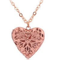 Wholesale Heart Pendant Filigree - Vintage style Hollow Heart-shaped Photo Locket Essential Oil Diffuser Empty Perfume Necklace Filigree Hollow Locket Necklace