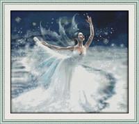 ingrosso dipinti balletto-Ballet on Ice decor paintings, Ricamo a punto croce fatto a mano Set cucito conteggio stampa su tela DMC 14CT / 11CT