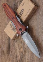 neues bräunen im freien überlebensmesser großhandel-Großhändler neue DA133 Browning Taschen-faltendes Messer scharfe Klinge Holzgriff Tactical Survival Camping Messer Outdoor-Tools versandkostenfrei