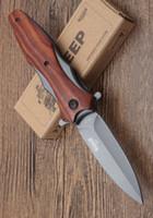 nuevo cuchillo de supervivencia al aire libre para dorar al por mayor-Mayorista nuevo DA133 Browning bolsillo cuchillo plegable cuchilla afilada mango de madera Tactical Survival Camping cuchillos herramientas al aire libre envío gratis