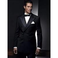 35d3183313b Custom Made men Blazers Groomsman Black Double Breasted Suit Men Wedding  Suits Groom Tuxedos For Mens Blazers Jacket+Pant+Tie