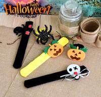 Wholesale kids party favors bracelets resale online - Halloween Slap Bracelets Wristband Halloween Decorations Pops Ring Party Supplies Decoration Novelty Favors for Children Adults Kids