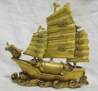 tekne bronz toptan satış-7 '' Çin bronz heykeli Ejderha Tekne Para Şanslı Heykel (yi fan feng shun) Pirinç Ejderha gemi