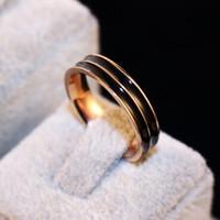 trajes de titanio al por mayor-Anillo de acero titanium esmalte anillos negros para mujeres chapado en oro rosa anillos de dedo de la vendimia joyería fina fiesta de disfraces
