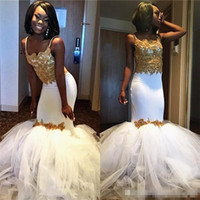 Wholesale short formal dressess for sale - Group buy 2018 Black Girls Spaghetti Straps Satin Mermaid Long Prom Dressess White Tulle Gold Applique Beaded Formal Evening Dresses Party Gowns