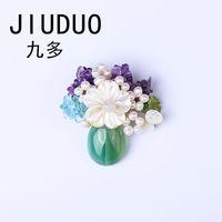 ingrosso spille in pietra-JIUDUO New Elegant Anadem Flower Vera perla naturale Vintage Nature Stone Garland Brooches per le donne Dress Genuine Unique