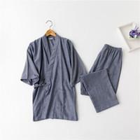 algodón yukata al por mayor-Kimono japonés trajes para hombres venta caliente de algodón de manga corta pijama conjuntos tradicional Yukata hombres Lounge albornoz ropa de dormir 121401