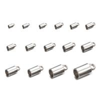 bouchons à sertir achat en gros de-50 PCS 15 tailles chaîne cordon chaîne à sertir perles en acier inoxydable seau cordon à sertir embouts bouchons pour bijoux bricolage fabrication accessoires résultats