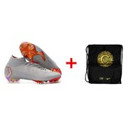 82db3eb78 Grey White Red Original Mercurial Superfly VI 360 Elite FG Soccer Shoes  Outdoor Football Boots Mens CR7 Soccer Cleats + bags