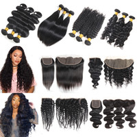 Wholesale Brazilian Virgin Hair Bundles with Closures Kinky Straight Body Deep Wave Human Hair Weave with Lace Frontal Closure Cheap Hair Extensions