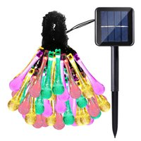 Wholesale premium water - Premium Quality 6m 30 LED Solar Christmas Lights 8 Modes Waterproof Water Drop Solar Fairy String Lights for Garden