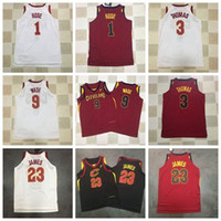 Wholesale usa signs - 2018 New CLE Basketball CAVS Mitchell Vest Jersey Men Women Youth Signed 23 LBJ 9 WD 1 DR Black Red USA Team HFQY002