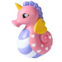 ingrosso nuovi giocattoli della cinghia-Jumbo Hippocampi Squishy Toys Sea Horse Slow Rising Spremere Cinghie per telefono Charm Kawaii Giocattoli per bambini Leggiacapre 2018 Nuovo