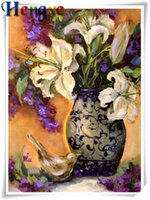 Wholesale canvas painting vases - Mosaic home decor gift flower lily vase 5D diy diamond painting cross stitch kit rhinestone full round&square diamond embroidery y2392
