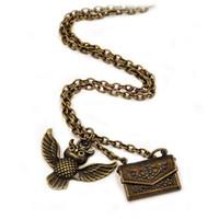 mücevherata bronz zincir toptan satış-Hogwarts Baykuş Kabul Mektubu Kolye Antik Bronz Baykuş Kolye Zincir Hayranları Moda Takı Olacak ve Sandy Damla Nakliye