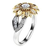 kristall-cocktails großhandel-Wunderschöne Sonnenblume Form Strass Kristall Sunflower Cocktail Ring Frauen Schmuck Mode Elegant Ring