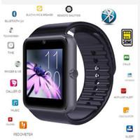 metal akıllı saatler toptan satış-Metal Kayışı Ile Bluetooth Akıllı Izle GT08 Dokunmatik Ekran Pedometre Desteği IOS Android Telefon Için TF Sim Kart Kamera